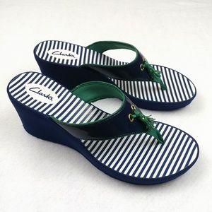 NWOT Clarks Striped Wedge Heel Flip Flops Sz 10M